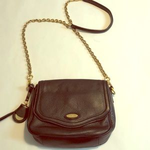 TAHARI Black Leather  Crossbody Chain
